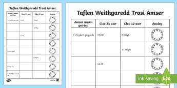 Trosi Amser Taflen Weithgaredd - Amser, Cyfnod Allweddol 2, CA2, Cyfnod Sylfaen, Mathemateg, time, amser., Welsh