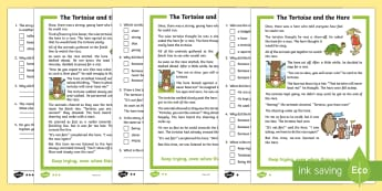 The Tortoise and the Hare Differentiated Reading Comprehension Activity - KS1 Comprehensions, aesop's fable, moral, fable, KS1, key stage 1, key stage 1, year 1, year one, y
