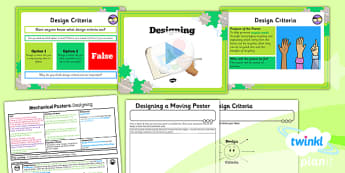 PlanIt - DT LKS2 - Mechanical Posters Lesson 3: Designing Lesson Pack - planit, design and technology, Go Green, Eco, recycle, warrior, environment