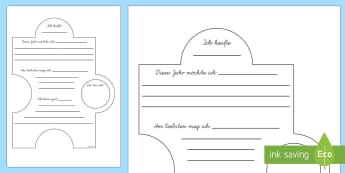 Neues Schuljahr Klassenpuzzle Schreibvorlage - Neues Schuljahr, Neue Klasse, Schulanfang,German