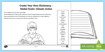 Global Goals Climate Action Create Your Own Dictionary Activity - Define, definition, alphabetical, reading for information, keywords, global issues, citizenship, cli