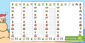 Christmas Page Border Pack English/Afrikaans  - December, Santa, Christmas tree, writing, skryf, Kersvader, EAL