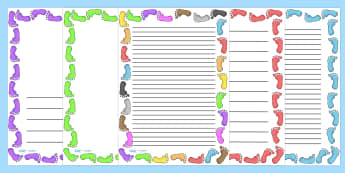 Footprint Page Borders - Page border, border, writing template, writing aid, footprint, all about me, ourselves, foot, print, hand