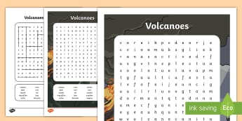 Volcano Themed Word Search - - volcano, mountain, eruption, lava, active volcano,