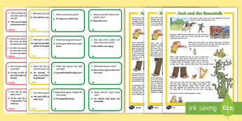 Jack and the Beanstalk Differentiated Story and Comprehension Question Cards - EYLF, Literacy resources, oral language, comprehension, question and answer, inference, early years,