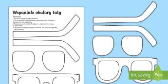 Szablon Wspaniałe okulary taty - okulary, wycinanie, technika, plastyka, wytnij, sklej, pokoloruj, tata, taty, ojciec, ojca, dzień,