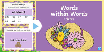 Words within Words Easter Game PowerPoint - Language games, words in words, words within words, morning activities, morning tasks, Easter, Easte