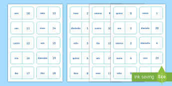 Numbers 0 to 20 Dominoes English/Spanish - Spanish games, Spanish dominoes, Spanish numbers, Spanish numbers to 20, Spanish group games.,Scotti