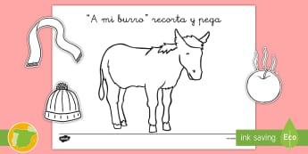 Ficha de recortar y pegar: A mi Burro - canción, tradicional, marionetas, muñecos de palo, le duele, la cabeza,Spanish