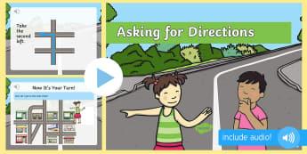 Cum să ceri indicații în limba engleză PowerPoint  - vocabular în engleză,  comunicare în engleză, pronunție în engleză, activități de comunicar