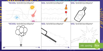 New Years Pencil Control Activity Sheets English/German  - eal, events, celebrate, German-translation