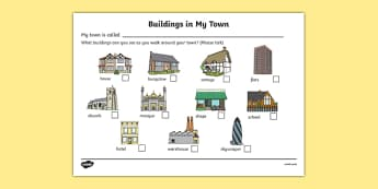 Buildings In My Town Worksheet - houses and homes, house, home, building, worksheet, sheet, activity, my town, flats, church, shops, school, mosque, flats, brick, stone, detached, terraced, bathroom, kitchen, door, caravan, where we live, ourselves