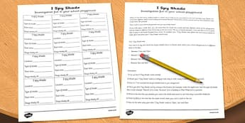 I Spy Shade Investigation Activity Sheet - I spy, shade, investigation, worksheet