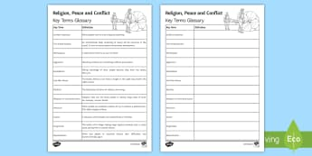 Religion, Peace and Conflict Key Words Glossary Activity - Religion; peace; conflict