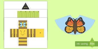 Plantillas: Figuras 3D - Bichos - insectos libélula, abeja, caracol, hormiga, típula, escarabajo, mariposa, oruga, gusano, mariquita - insectos libélula, abeja, caracol, hormiga, típula, escarabajo, mariposa, oruga, gusano, mariquita