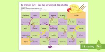 April Fools' Snakes and Ladders French - Poisson d'avril, April Fools Day, April Fool's Day, 1st April, 1er avril, premier avril, joke, bla