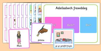 Adeiladwch Frawddeg - welsh, cymraeg, brawddegau, brawddeg, adeiladu brawddeg, pwy?, pam?, ble?