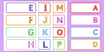 Upper Case Monster Alphabet Drawer Peg Name Labels - uppercase, monster, alphabet, drawer, peg, name, label, display