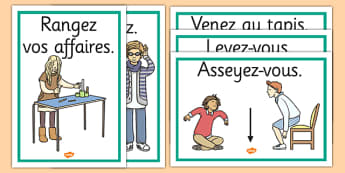 French Classroom Instructions Display Posters - french, display