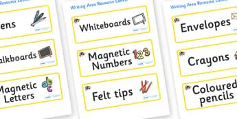 Bee Themed Editable Writing Area Resource Labels - Themed writing resource labels, literacy area labels, writing area resources, Label template, Resource Label, Name Labels, Editable Labels, Drawer Labels, KS1 Labels, Foundation Labels, Foundation St