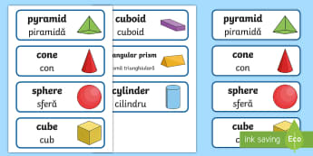 3D Shape Word Cards Romanian/English - 3D Shape Word Cards -  flashcards, numeracy, geometry, shapes,EAL