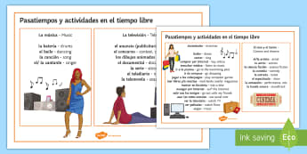 Hobbies and Free Time Activities Word Mat Spanish - Spanish, Vocabulary, free time, hobbies, word mat