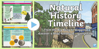 Natural History Timeline PowerPoint - Earth, big bang, present day, evolution, Civilisation, invention, adaptation