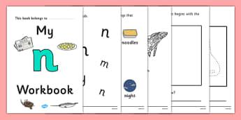 My Workbook n lowercase - workbook, n sound, lowercase, letters, alphabet, activity, handwriting, writing