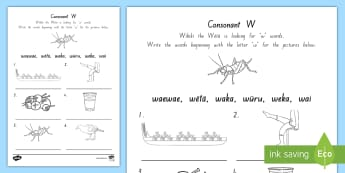 Maori Language Week Consonant 'w' Activity Sheet - Maori Language Week, Te Reo Maori, Activity Sheet, Language Acquisition, worksheet