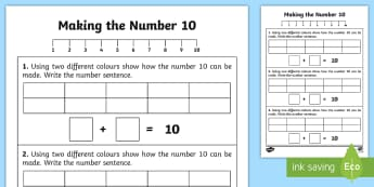 Ways of Making 10 Activity Sheet - worksheet, number bonds, numbers, counting, numicon, adding