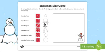 Snowman Dice Game Activity Sheet - game, activity, fun, activity sheet, snowman, snowman game, snowman dice game, dice game, game sheet, fun activity, fun game, learning, play, worksheet