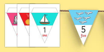 0-20 Number Line Bunting - displays, display, numbers, counting
