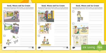 Sand, Waves and Ice Cream Picture Sequencing Activity Sheet - ROI, Sand, Waves & Ice Cream, Aistear, Seaside, Beach, English, Activity, worksheet, Display, Story,