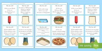 Was bin ich? Mittag- und Abendessen Ratespiel DIN A4 Karteikarten - Schlussfolgern, Spiel, logisches Denken, Essen, Nahrung, ,German
