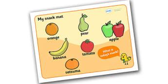 My Snack Mat - Snack mat, snack time, snack display, fruit, water, snack area, snack, snacks, fruit time, apple, orange, banana, pear, tomato