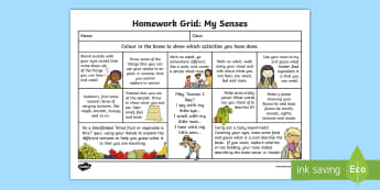 My Senses Themed CfE Homework Grid - Homework, home learning, active homework, outdoor learning, personalisation and choice, choosing, ac