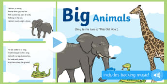 Big Animals Song PowerPoint - singing, song time, elephant, snake, giraffe, jungle, size, small, measurement, shape, space and mea