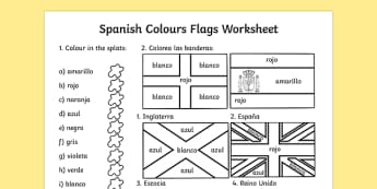 Spanish Colouring Flags Worksheet - worksheets, flag, colour