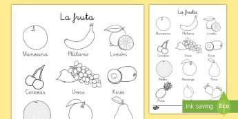 Hoja de colorear: La fruta - hoja de colorear, colorear, colorea, color, colores, fruta, frutas, vocabulario, ,Spanish