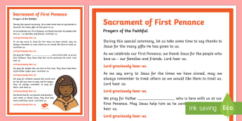 Sacrament of First Penance Prayers of the Faithful Print-Out - Prayers of the Faithful, ROI, Ireland, sacrament, First Penance, Roman Catholic, prayer service, ass