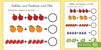 Zählen und Rechnen mit Obst Arbeitsblatt: Erstes Rechnen (Addieren) - Rechnen mit Obst Arbeitsblatt: Erstes Rechnen (Addieren), Addition, Erstes Rechnen, Erste Addition,