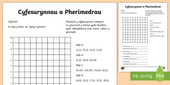 Taflen Weithgaredd Cyfesurynnau a Pherimedr  - mathemateg, mesur, perimedr, rhifedd, perimeter, coordinates,Welsh