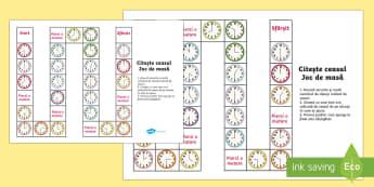 Citirea ceasului - Joc de masă - timp, unități de măsură, citirea ceasului, jocuri, joc, ceas, exprimarea orei, ora, materiale, m