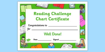Reading Challenge Chart Certificates Book Themed - Reading Challenge Chart Certificates, Book Themed Certificate, Reading Certificate