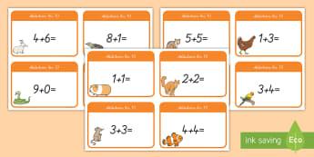 Addition bis 10 Wort- und Bildkarten - plus rechnen, plus, addieren, Mathematik, rechnen, wortkarten, bilderkarten,German