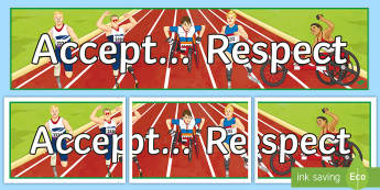 Accept... Respect A4 Display Poster - Disability awareness, disability rights, respect, special needs, discrimination, Paralympics,