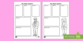 Year 1 My Ideal Teacher Activity Sheet - back to school, new school year, first week back, KS1, my teacher, worksheet