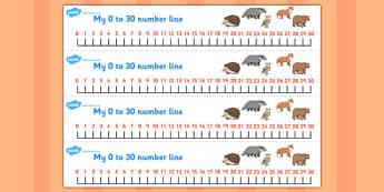 The Mitten Number Lines 0-30 - the mitten, number lines, 0-30