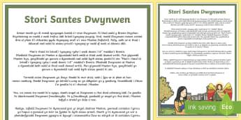 Santes Dwynwen Stori - Santes Dwynwen, Cymraeg, iaith, darllen, llefaredd, stori, cerdyn darllen, cyfnod allweddol 2, CA2,W