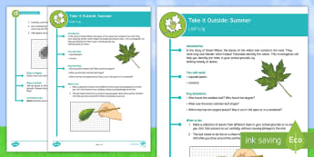 KS2 Take It Outside: Summer- Leaf Log Activity - maths, measure, area, tree identification, Forest School, Nature Detectives, outdoor, woodland learning, twinkl outdoor and woodland learning owl get it